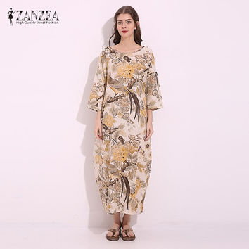 M-5XL ZANZEA Vintage Womens Floral Print Cotton Linen Party Cotton Linen Maxi Long Dress Casual Baggy Kaftan Tunic Plus Size