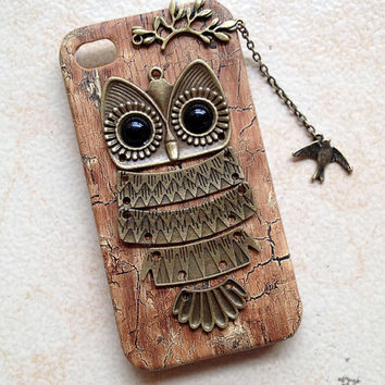 iphone 5 case cover Owl with Branch bird pendant by hgforeverstar
