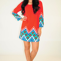 Make My Point Dress: Red/Multi | Hope's