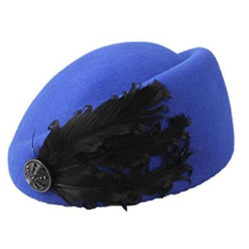 Dantiya Women's Vintage Feather Wool Beret Cap British Style Pillbox Hat Blue