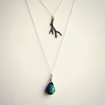 sterling silver turquoise deer horn and turquoise necklaces, deer necklace, layer necklace, turquoise necklace, boho jewelry, necklace set