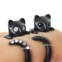 black cat ring, black eyes ring, animal wrap ring, man ring, cute ring, cat ring, black cat, unique ring, stretch ring, adjustable ring