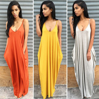 Fashion 2016 Summer Women Strapless Casual Loose Long Maxi dress Super Big Maxi Long Batwing Sleeve Casual Dress Deep V neck dress Vestidos