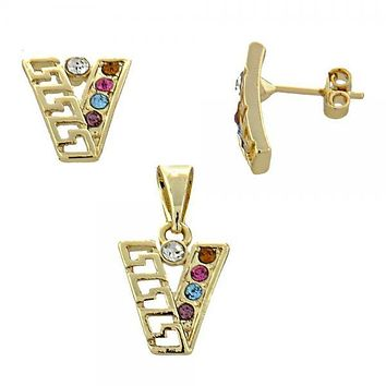 Gold Layered 5.052.019 Earring and Pendant Adult Set, Greek Key Design, with  Crystal, Gold Tone