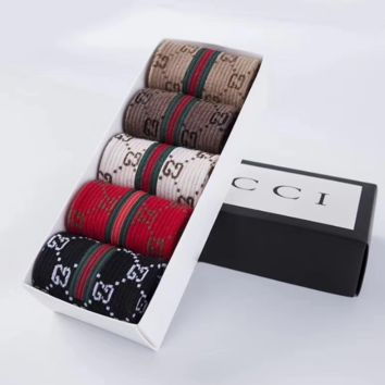 5pcs GUCCI Casual Sport 100% Cotton Socks RANDOM COLOR