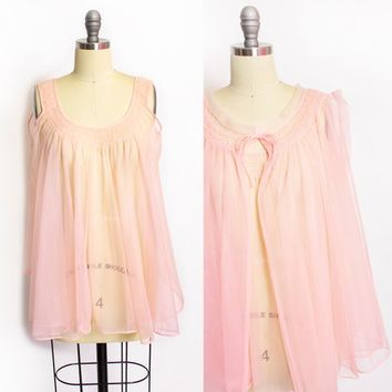 Vintage 1960s Lingerie Set - Light Pink Nylon Chiffon Nightgown Teddy Sheer Slip - Small / Medium