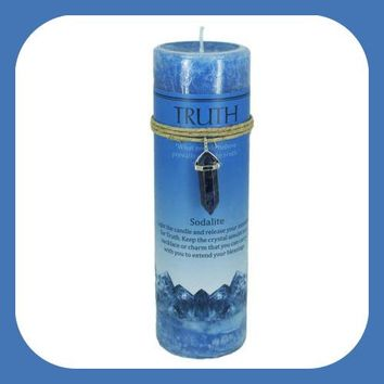 """""""Truth"""" Pillar Candle with Sodalite Pendant"""