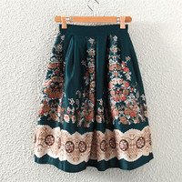 Green Vintage Floral Print Midi A-Line Pleated Skirt
