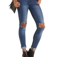 "Refuge ""Boyfriend"" Dark Wash Ripped Knee Jeans"