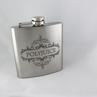 Polyjuice Flask, inspired by Harry Potter 6 oz. Stainless Steel Laser Engraved