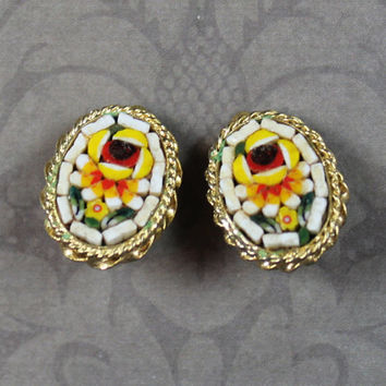 Vintage Italian Oval Yellow, Orange, Red and White Floral Micro Mosaic Clip On Earrings
