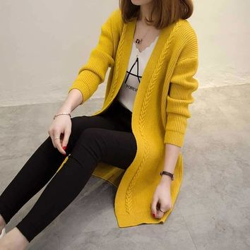 Hot Autumn Women Knit Cardigans Coat Knitted Sweater Winter Lose Open Stitch Solid Cardigans V-neck Sweater Coat Long Sleeves