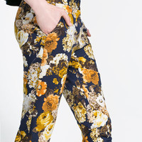 FLORAL PRINT TROUSERS - Skinny - Trousers - Woman | ZARA United States