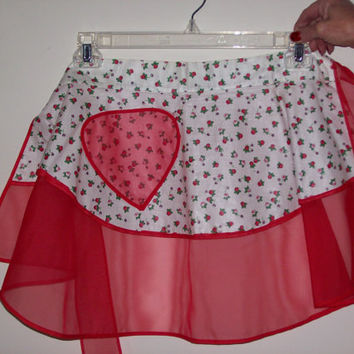 Vintage Half Apron Red White Print Sexy Red Sheer
