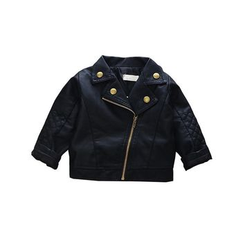Trendy Fashion Baby Leather Jackets Kids Cool Autumn Outwear Toddler Boys Coat Clothing Girls Slim Black Coats Princess Dress AT_94_13