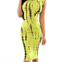 Women's Tie Dye Print Back Cutout Dress