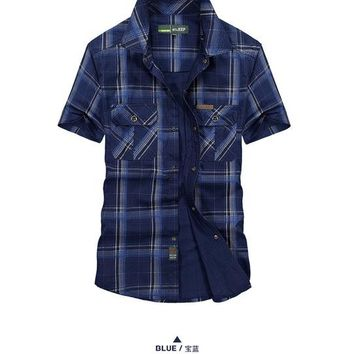 Hiking Shirt camping Hot sale Men Large size M-5XL Tops Short sleeve Chemise Homme 100% Cotton Outdoor Sports Camping Climbing Tactics Army shirts KO_17_1