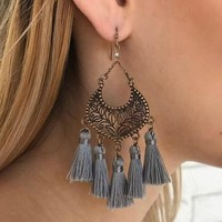 Giselle Fringe Earrings in Grey