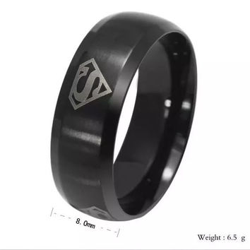 Cartoon Superman logo ring four triangular S word personality titanium steel rings for men = 1946798724
