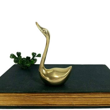 Brass Swan Figurine Vintage Waterfowl Statuette Paperweight Small Bird Duck Goose Decor Animal Statues Collectibles