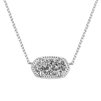 Elisa Silver Pendant Necklace in Platinum Drusy - Kendra Scott Jewelry