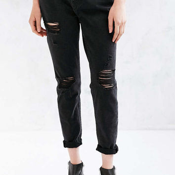 BDG Slim Boyfriend Jean - Washed Black Slash - Urban Outfitters