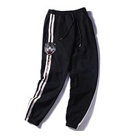 GUCCI embroidered cat head black casual pants sequins carrot pants F-A-KSFZ black