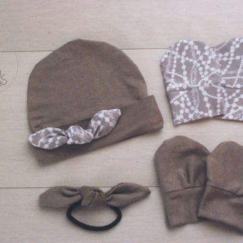 Taupe Newborn outfit newborn girl baby hat Tied KNOT IVORY baby boy hat girl bab