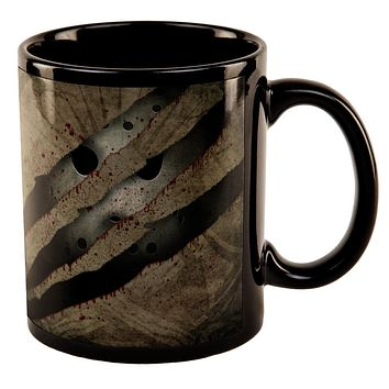 Halloween Horror Movie Mask Slasher Attack All Over Black Out Coffee Mug