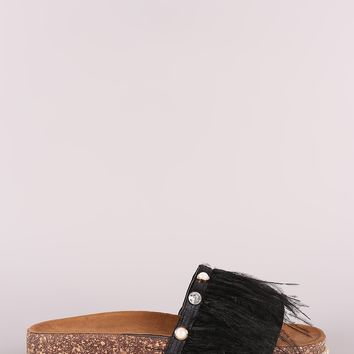 Feather Fringe Espadrille Cork Footbed Flatform Sandal