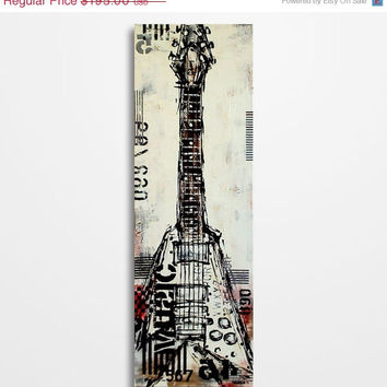 Valentines Day Sale Guitar painting, Guitar art, Music painting, Gift for musician, Original red, black and white guitar painting on canvas