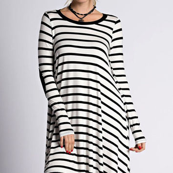 House Party Elbow Patch Striped Dress