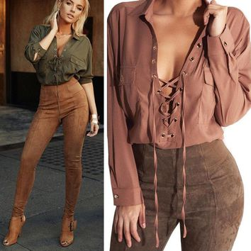 Fashion Womens Lace Up V Neck Long Sleeve Shirt Casual Blouse Loose Tops T-Shirt