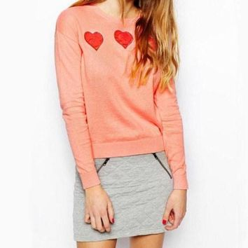 NOV9O2 Fashion Peach Heart knit sweater
