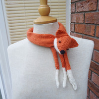Fox Collar, Mini Fox Stole, Fox Neckwarmer, Handknitted Fox Collar, Fox Scarf