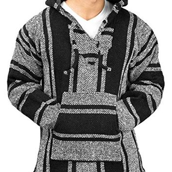 Black Mexican Poncho - Baja Hoodie Jacket Sweater - Joe