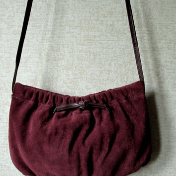 Suede Shoulder Bag long strap purse russet brown rust leather hinged frame spring frame handbag hipster high fashion vintage 70s