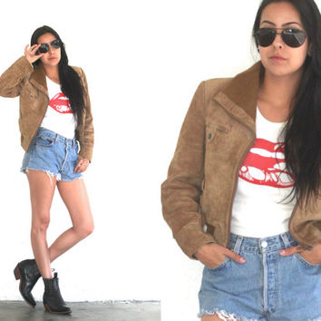 Vintage 70s SUEDE Leather FLIGHT Bomber Cropped Jacket Coat // Tan Brown // Hipster Hippie Boho Gypsy // XS Extra Small / Small