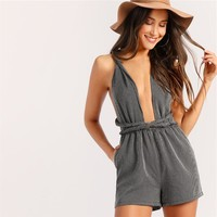 Sexy Grey Plunging Neck Crisscross Backless Striped Rompers Womens Jumpsuit Playsuit High Waist Sleeveless Romper