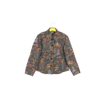 90s rainbow floral tapestry jacket / vintage 1990s nomadic traders / pastel / vaporwave / asian woven coat / unique / womens large