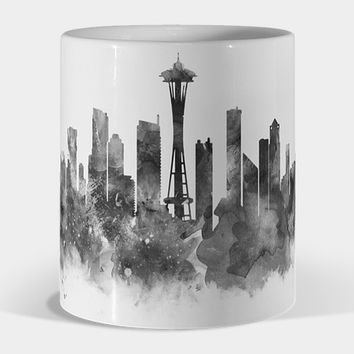 Seattle Black And White Mug By Monn Design By Humans