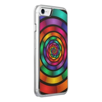 Round and Psychedelic Colorful Modern Fractal Art Carved iPhone 7 Case