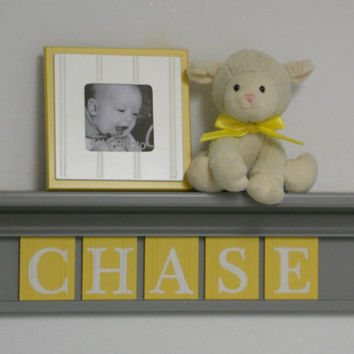 "Yellow and Gray Nursery Wall Art - Yellow Baby Boy Nursery Decor - CHASE Personalized 24"" Grey Shelf 5 Wooden Wall Letters Custom Name Gifts"