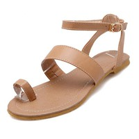 Large Size Clip Toe Buckle Strappy Flat Casual Sandals