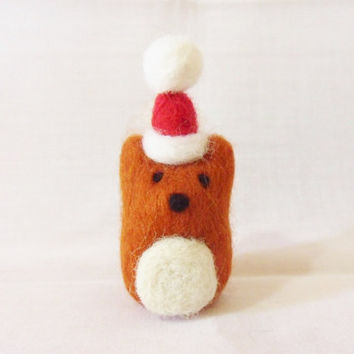 Needle Felted Christmas Fox - Christmas Ornament - 100% Merino wool - Christmas In July - needle felt fox