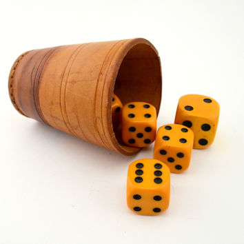 Vintage Butterscotch Bakelite Dice in Leather Cup, Large Dice w/ Rounded Corners, Leather Shaker Cup, circa 1920s-1930s