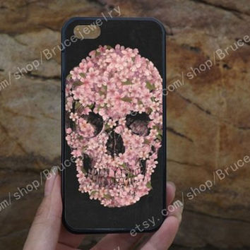 Skull flower iPhone Case,phone case,samsung case,galaxy S5 case,iPhone 5C 5/5S 4/4S,samsung galaxy S3/S4/S5,Personalized Phone case