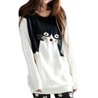 Little Hand Womens Cat Casual Knitted Jumper Pullover Sweaters White