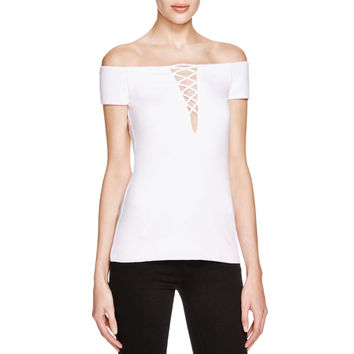 Bailey 44 Womens Lace-Up Mesh Inset Casual Top