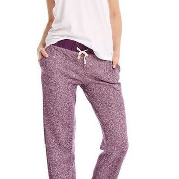 Sweatshirt Knit Lounge Pants in Heather Eggplant